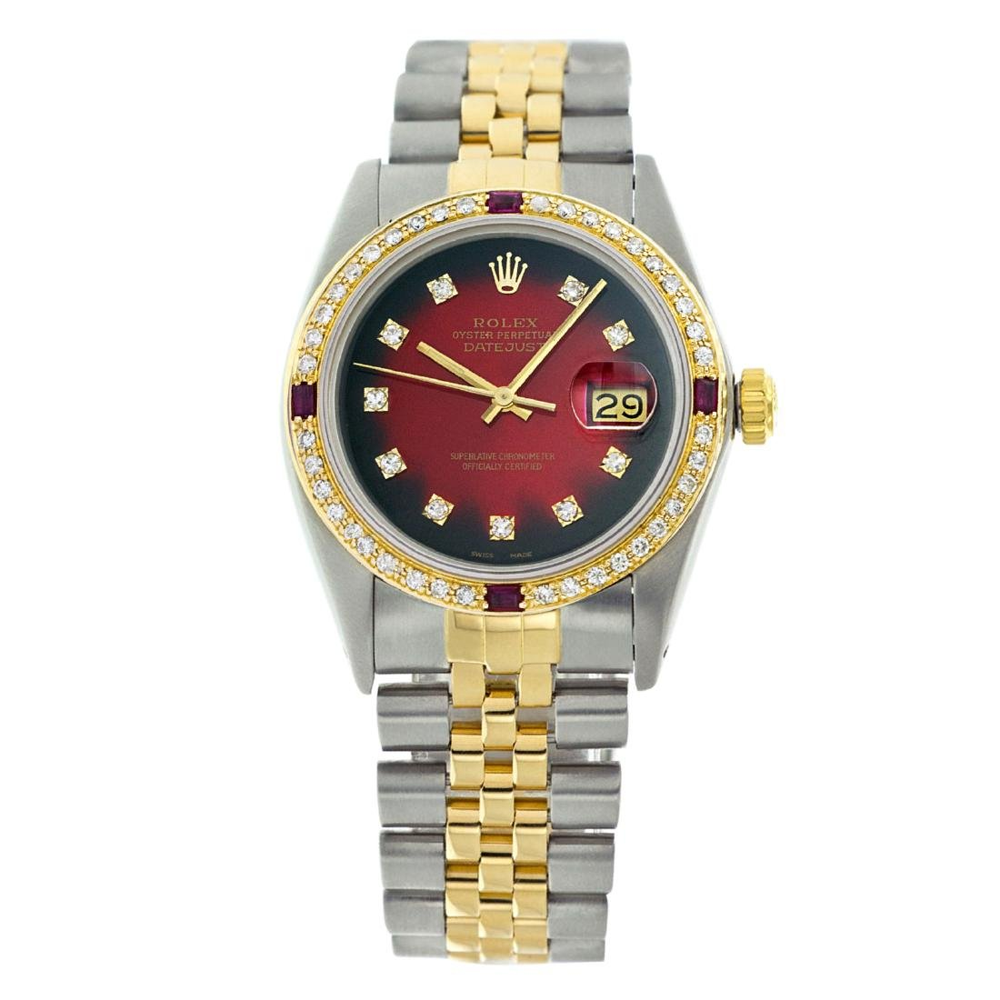 Rolex Pre-owned 36mm Mens Red Vignette Two Tone -