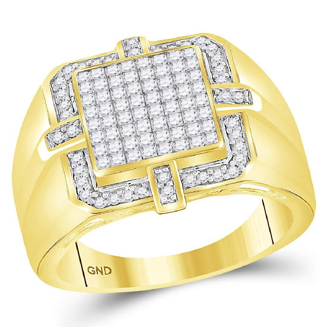 1.02 CTW Mens Princess Diamond Square Cluster Ring 10KT