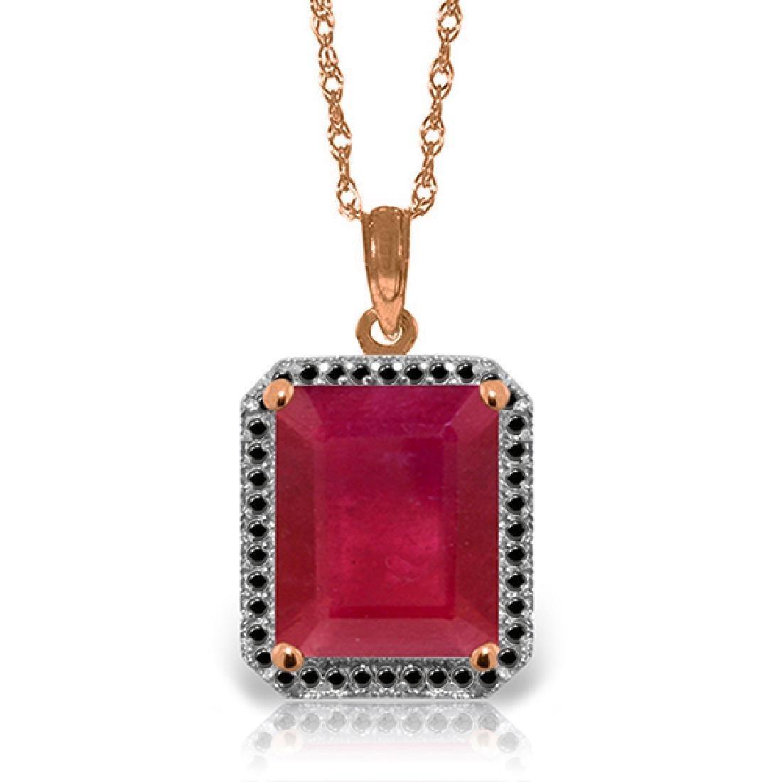 Genuine 7.45 ctw Ruby & Black Diamond Necklace Jewelry