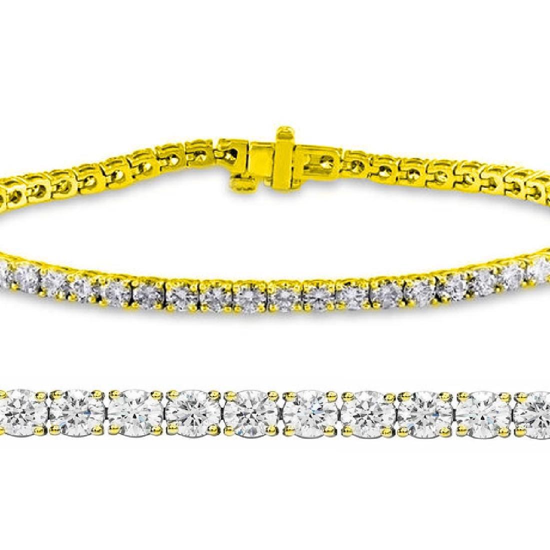 Natural 2.03ct VS-SI Diamond Tennis Bracelet 18K Yellow