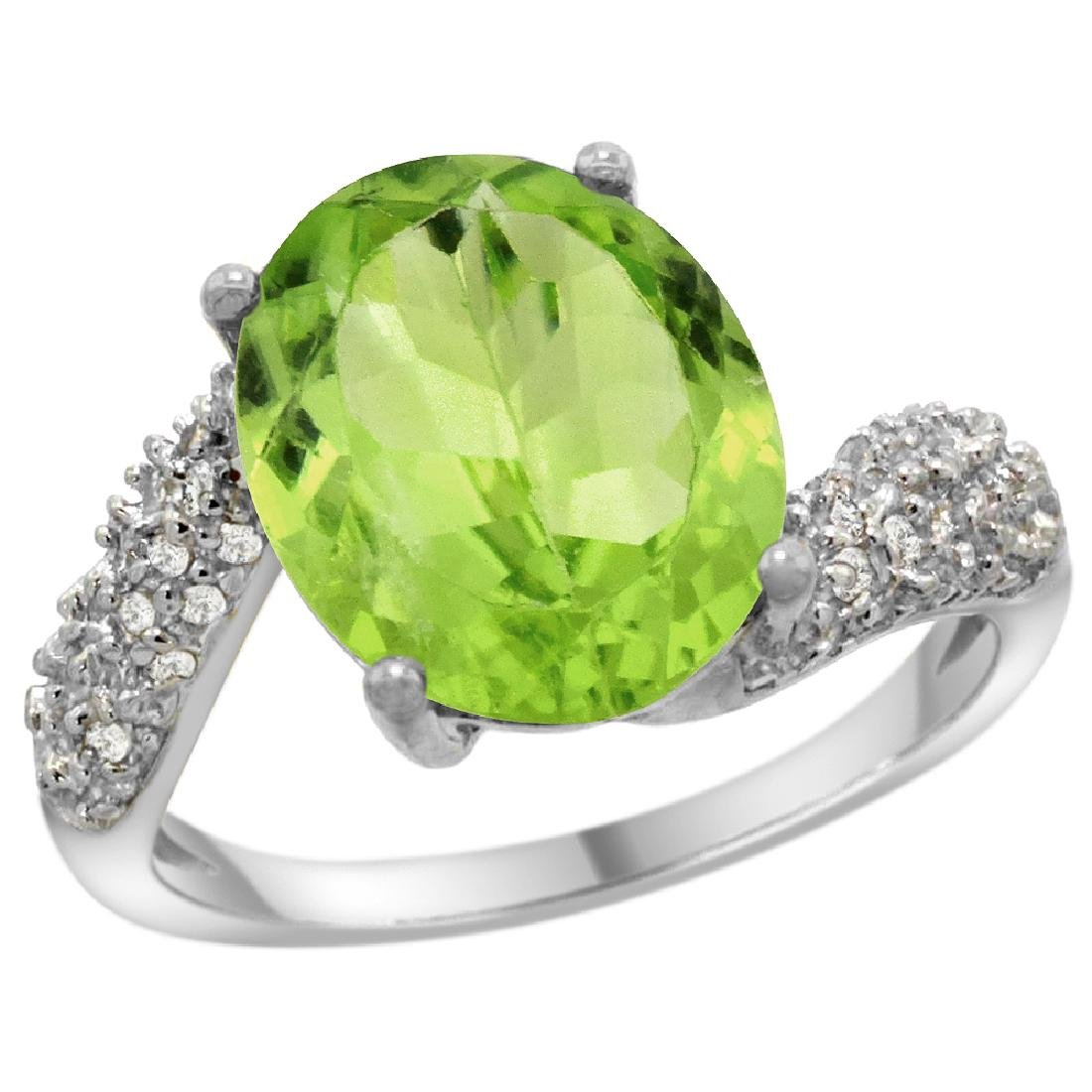 Natural 5.08 ctw peridot & Diamond Engagement Ring 14K