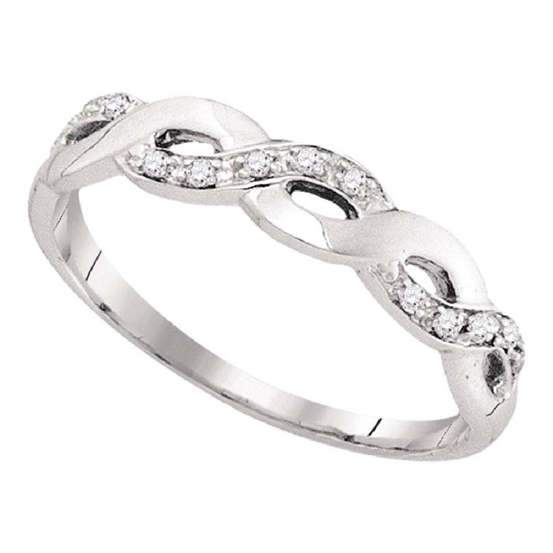 0.08 CTW Diamond Woven Ring 10KT White Gold - REF-8F9N