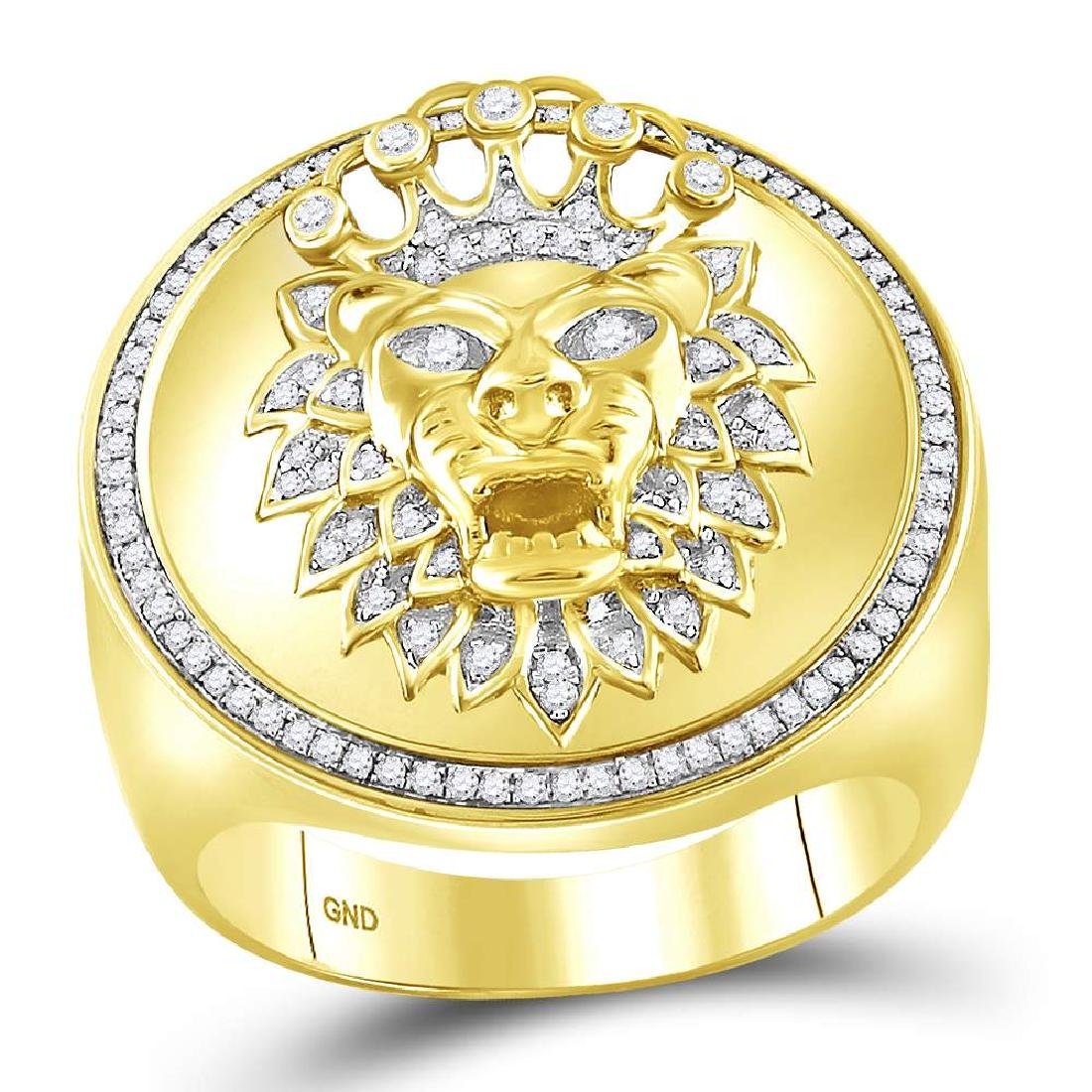 0.40 CTW Mens Diamond Lion Crown Cluster Ring 10KT
