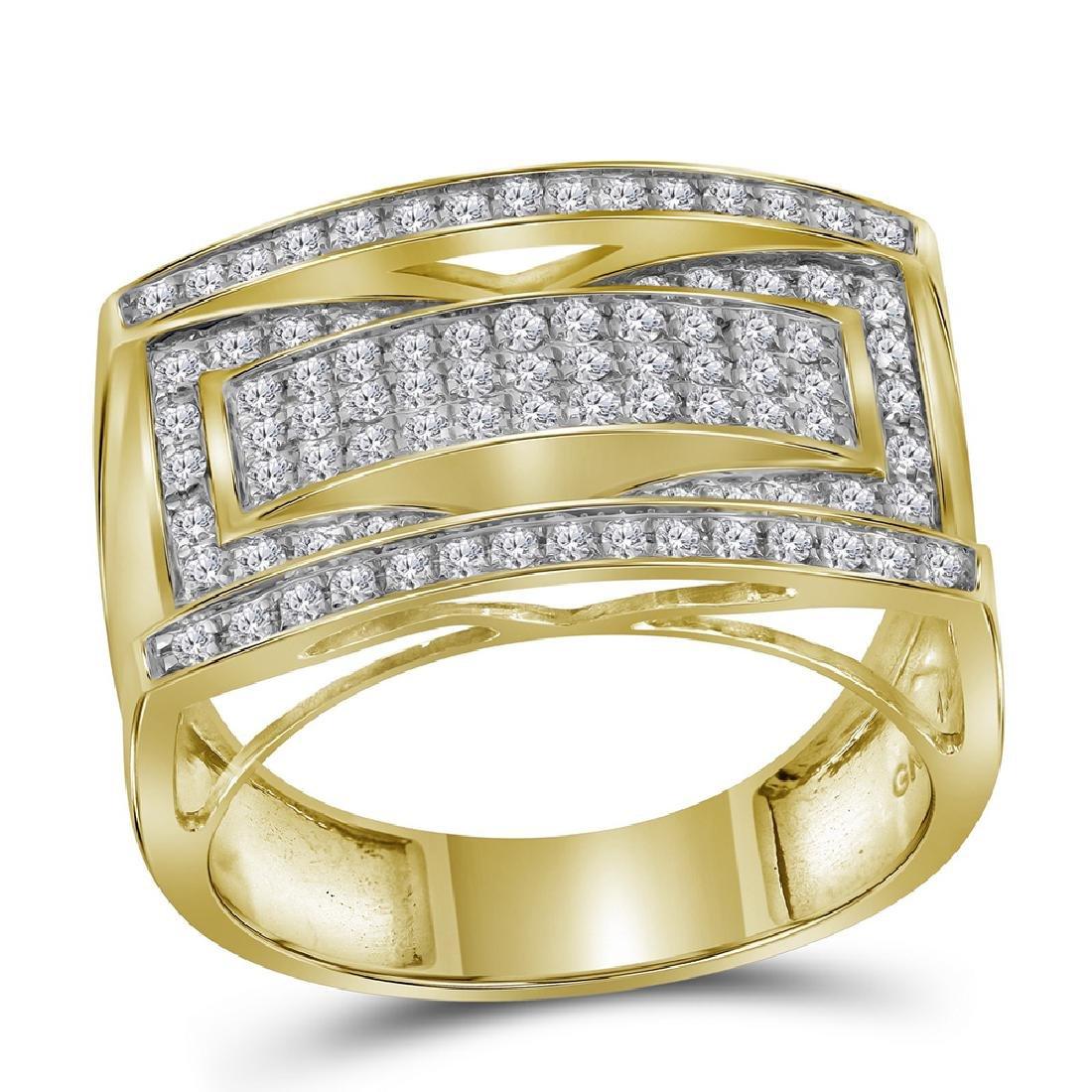 1.01 CTW Mens Pave-set Diamond Rectangle Cluster Ring