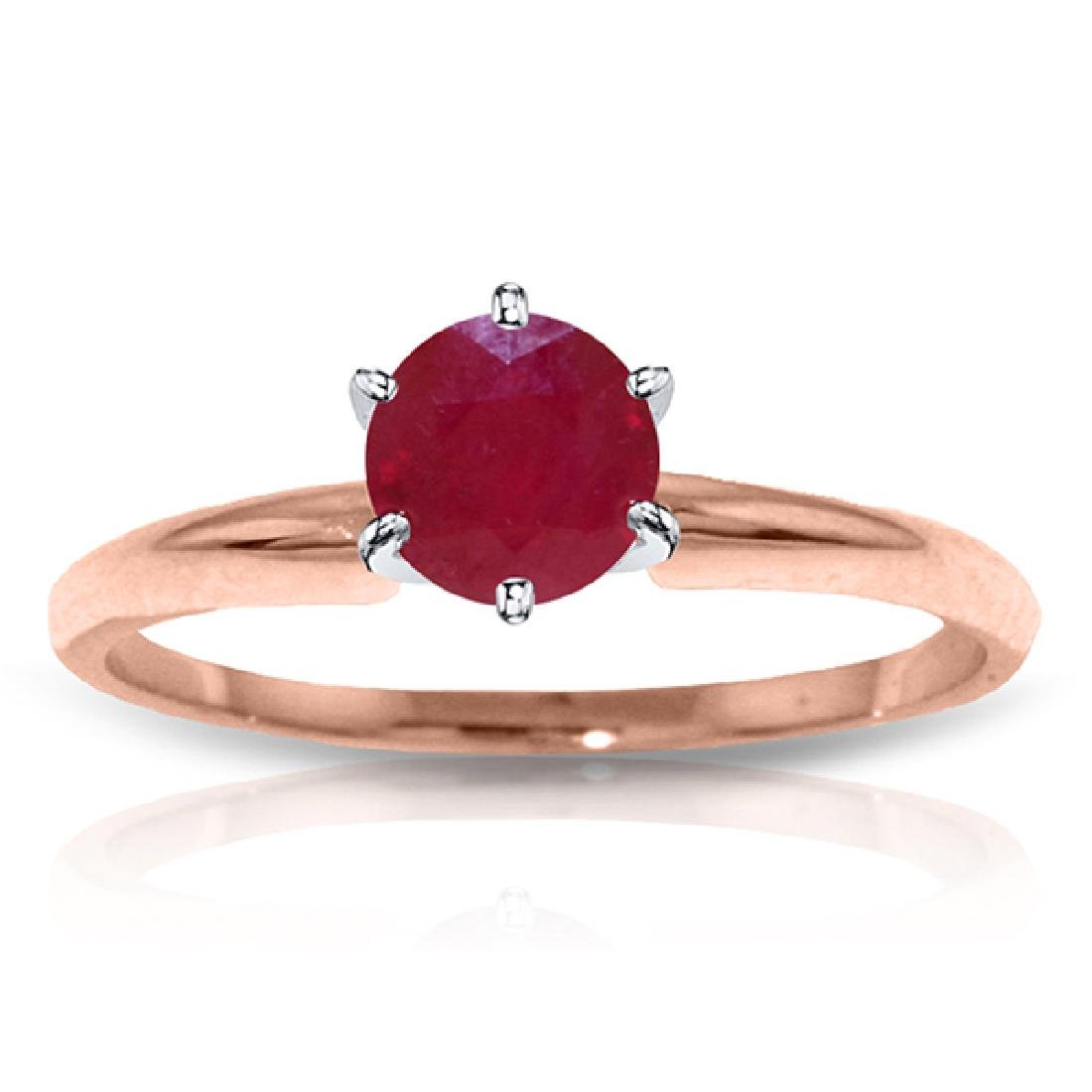 Genuine 0.65 ctw Ruby Ring Jewelry 14KT Rose Gold -