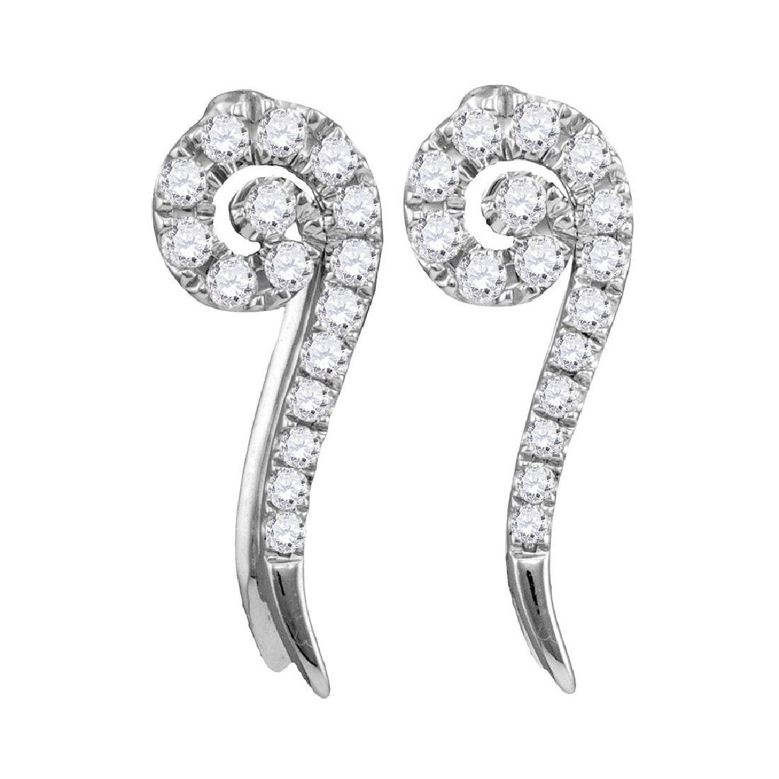 0.25 CTW Diamond Curled Vertical Stud Earrings 10KT
