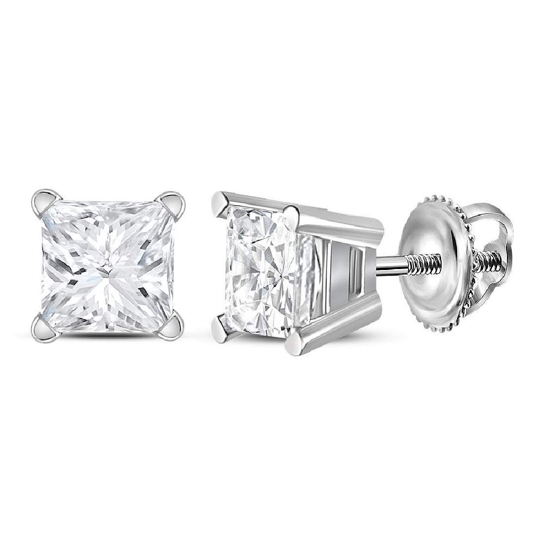 0.98 CTW Princess Diamond Solitaire Stud Earrings 14KT