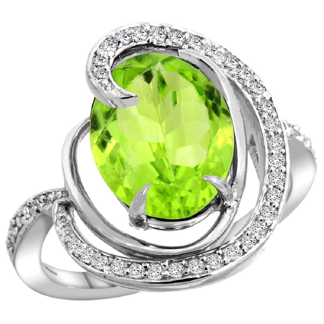 Natural 5.16 ctw peridot & Diamond Engagement Ring 14K