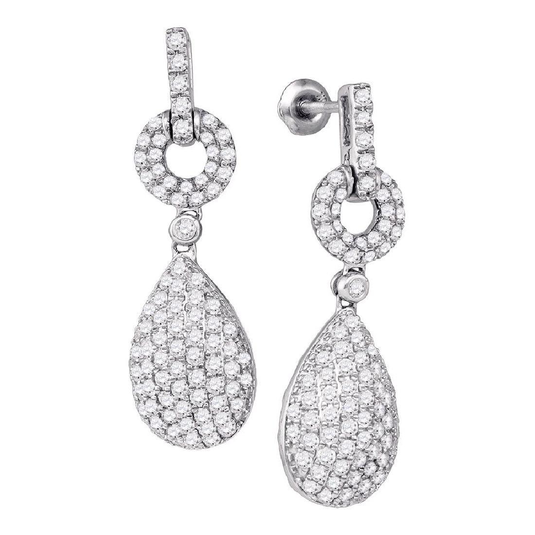 2 CTW Diamond Teardrop Dangle Earrings 10KT White Gold