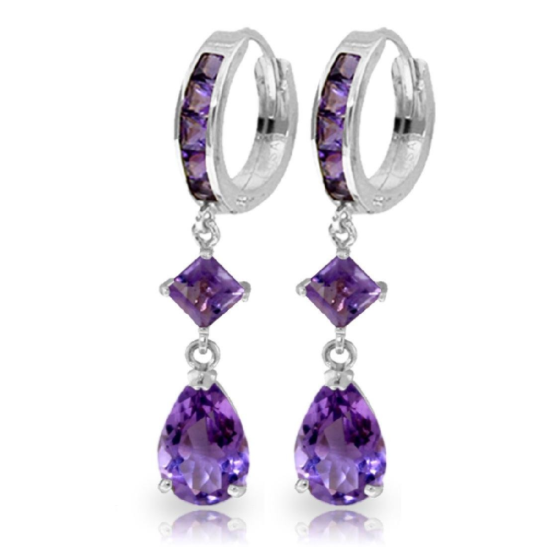 Genuine 5.62 ctw Amethyst Earrings Jewelry 14KT White