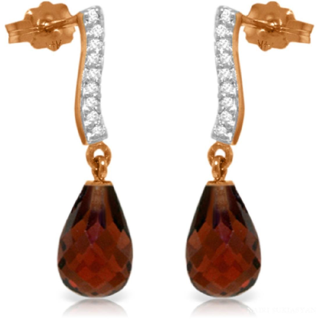 Genuine 4.78 ctw Garnet & Diamond Earrings Jewelry 14KT