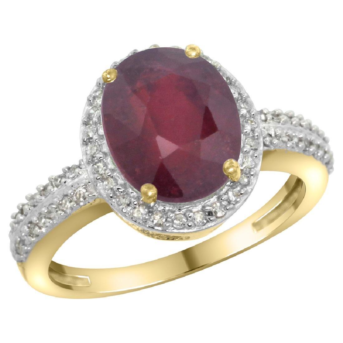 Natural 2.56 ctw Ruby & Diamond Engagement Ring 10K