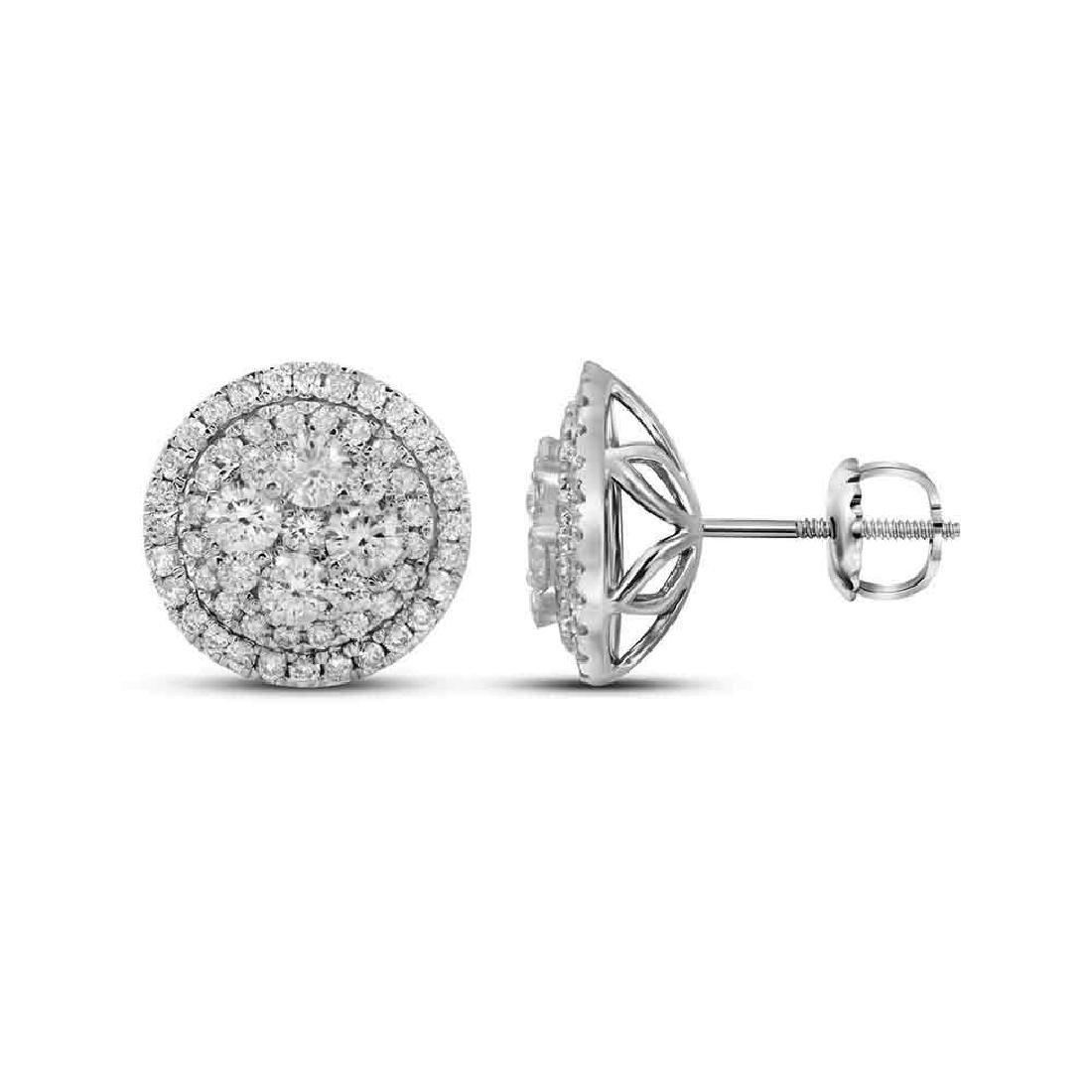 1.68 CTW Diamond Flower Cluster Earrings 14KT White