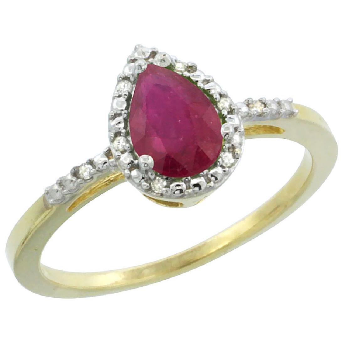 Natural 1.03 ctw ruby & Diamond Engagement Ring 10K
