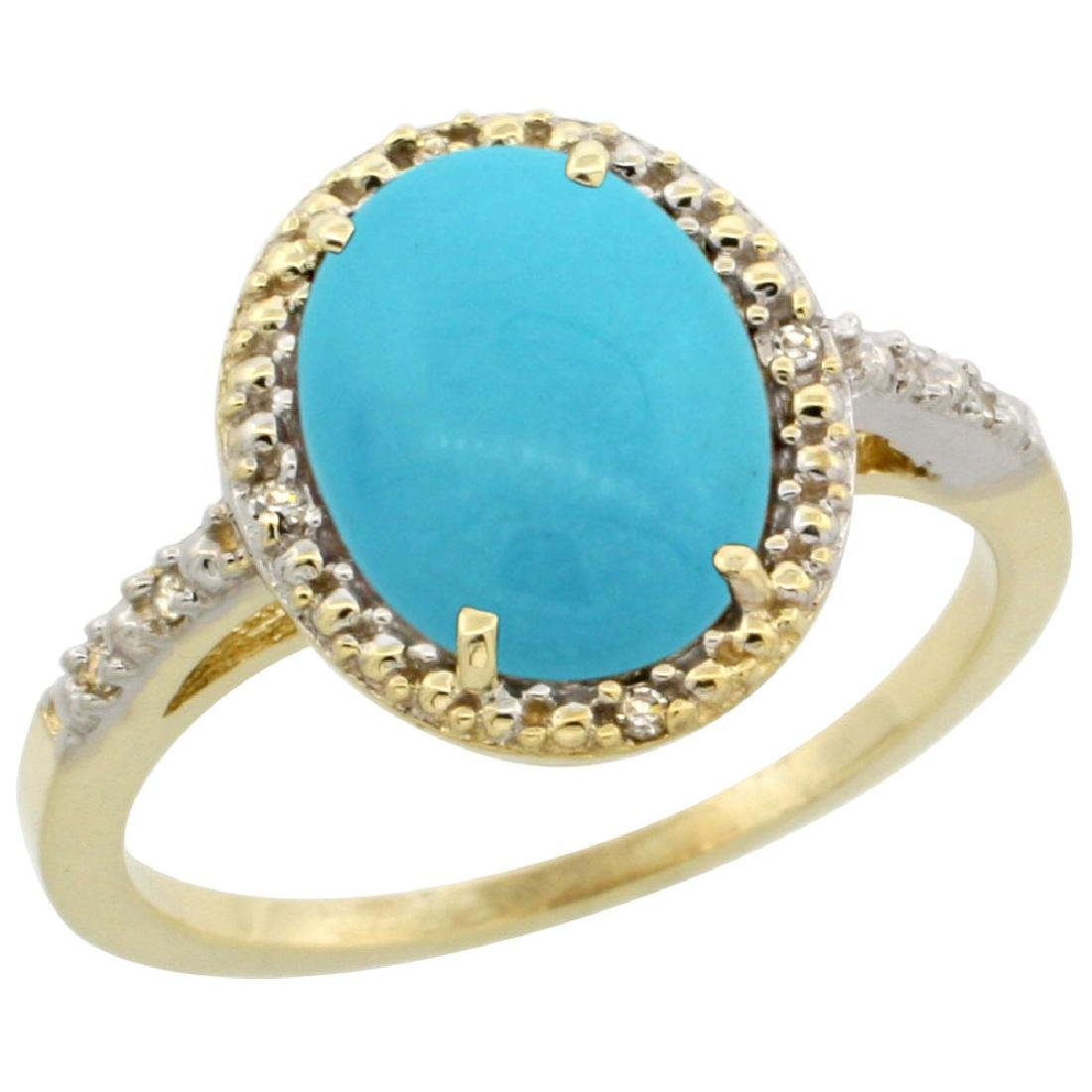 Natural 2.42 ctw Turquoise & Diamond Engagement Ring