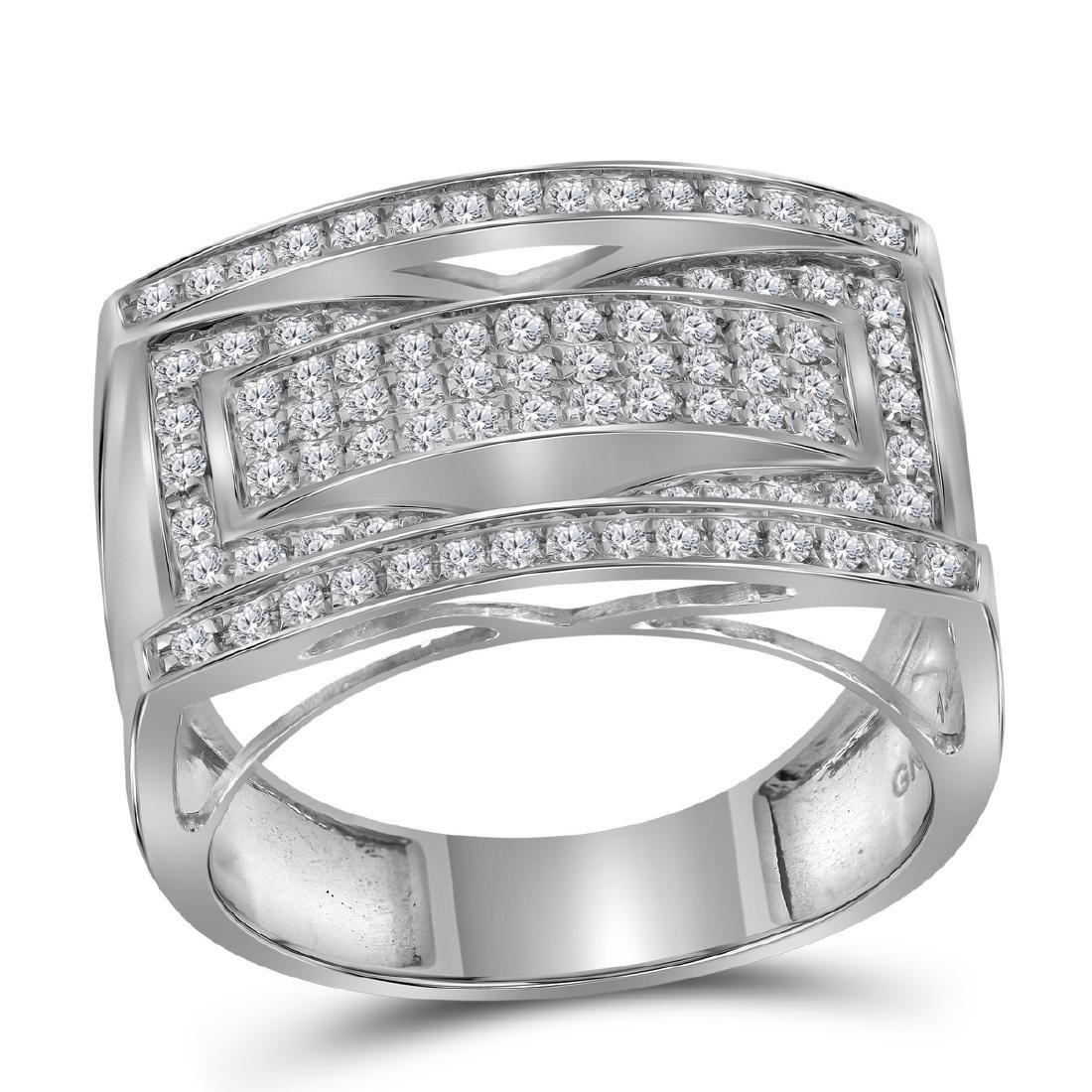 1.01 CTW Mens Pave-set Diamond Rectangle Cluster