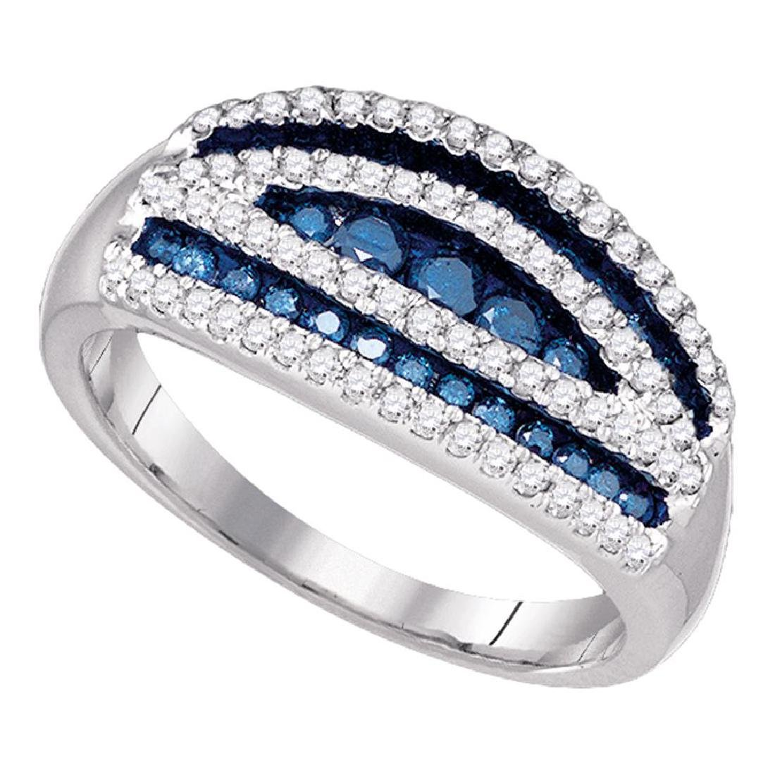 0.70 CTWBlue Color Diamond Cocktail Ring 10KT White