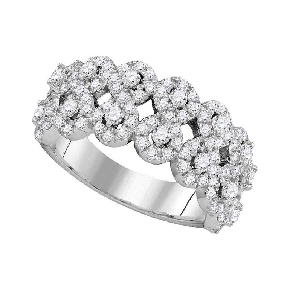 1.34 CTW Diamond Double Row Circle Cluster Ring 14KT