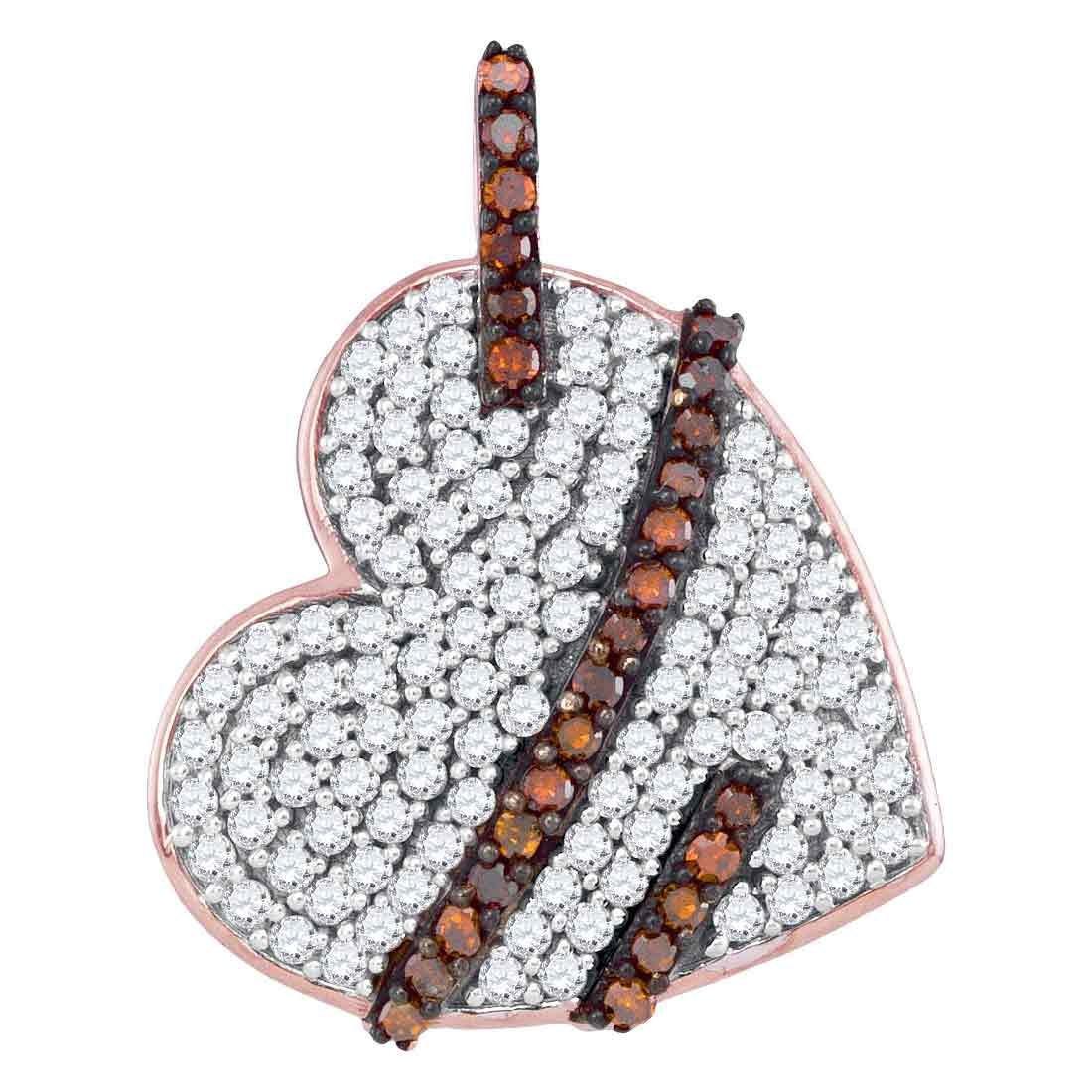 0.34 CTW Red Color Diamond Lasso Heart Love Pendant