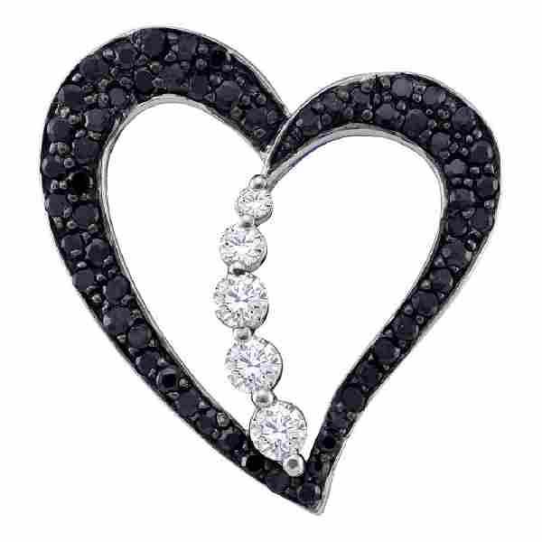 0.49 CTW Black Color Diamond Heart Love Journey Pendant