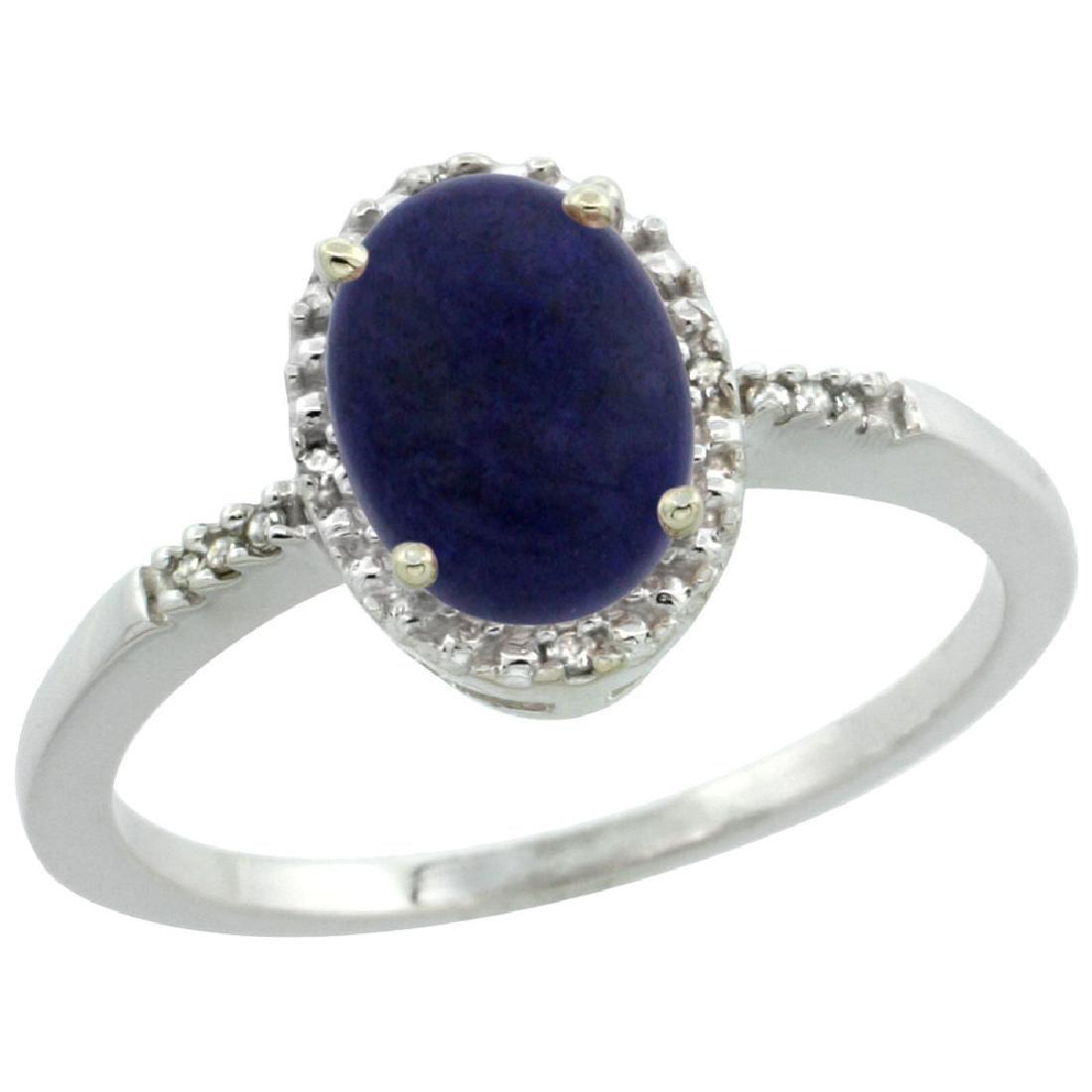 Natural 1.03 ctw Lapis & Diamond Engagement Ring 10K