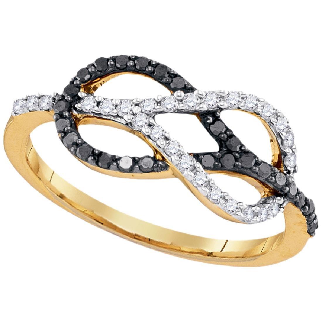 0.32 CTW Black Color Diamond Infinity Lasso Loop Ring