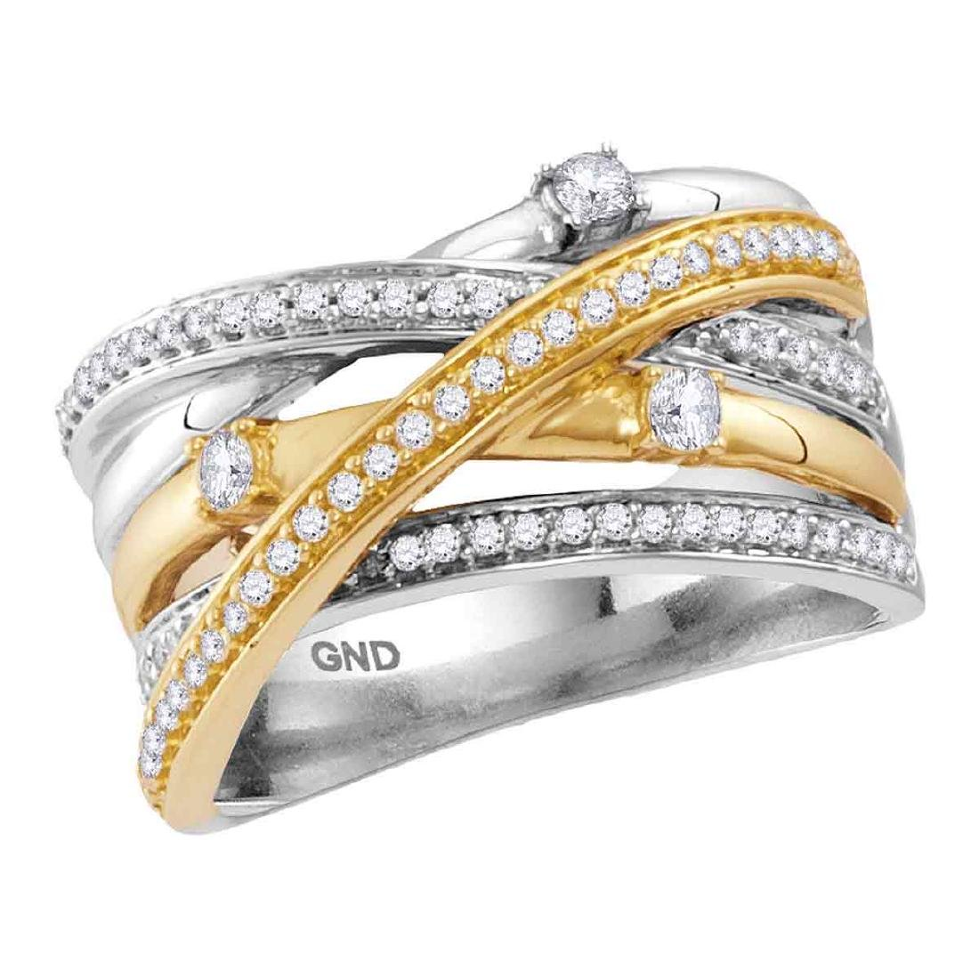 0.47 CTW Diamond Crossover Ring 14KT Two-tone Gold -