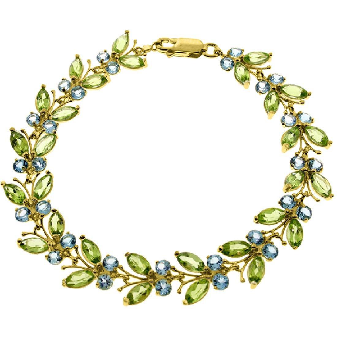 Genuine 16.5 ctw Blue Topaz & Peridot Bracelet Jewelry