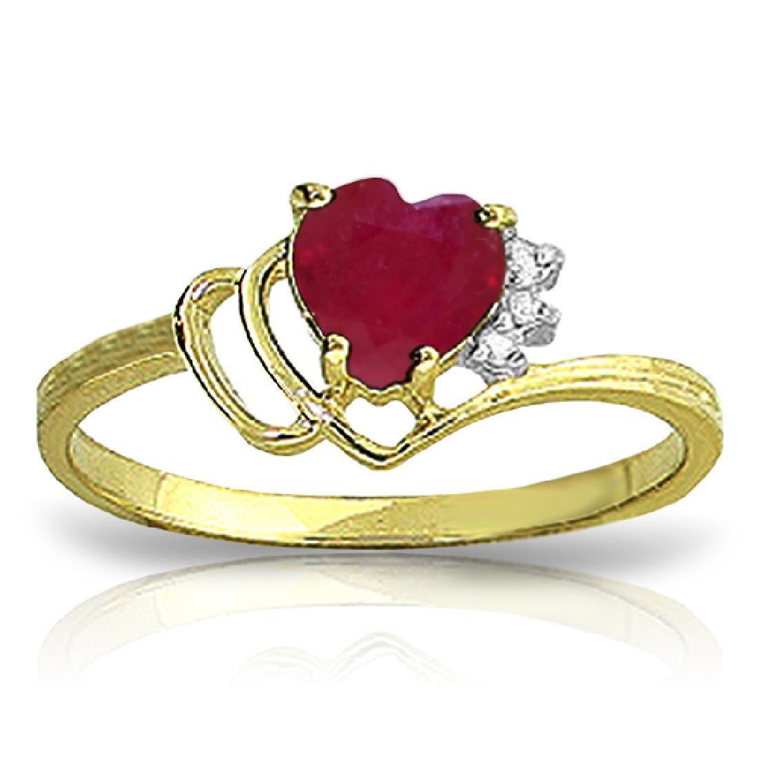 Genuine 1.02 ctw Ruby & Diamond Ring Jewelry 14KT