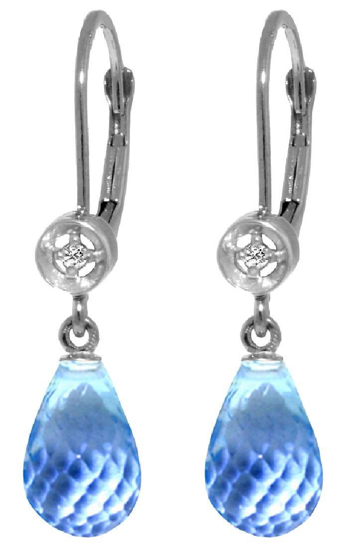 Genuine 4.53 ctw Blue Topaz & Diamond Earrings Jewelry