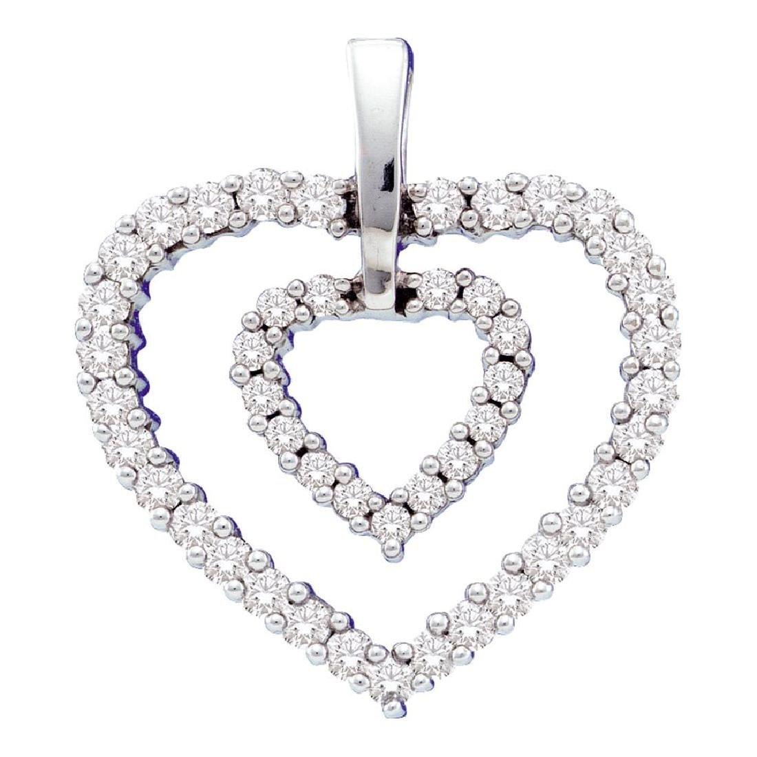 0.50 CTWDiamond Double Heart Pendant 14KT White Gold -