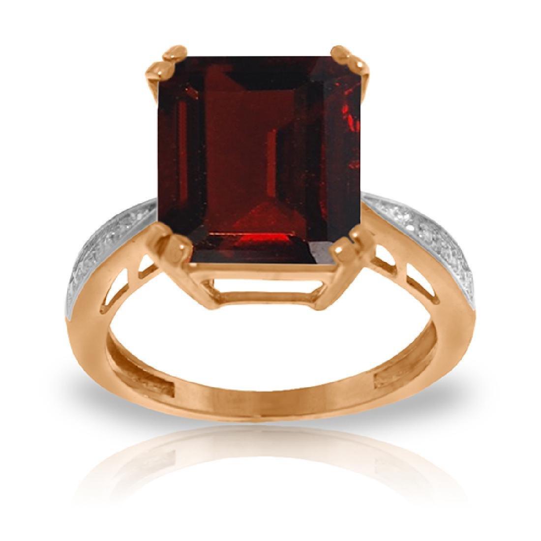 Genuine 7.52 ctw Garnet & Diamond Ring Jewelry 14KT
