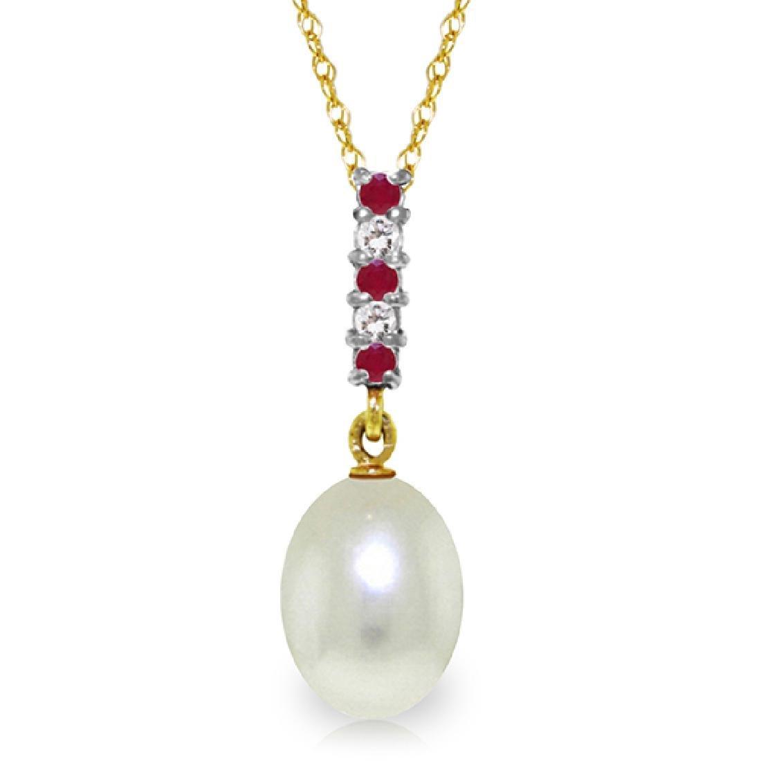 Genuine 4.15 ctw Pearl, Ruby & Diamond Necklace Jewelry