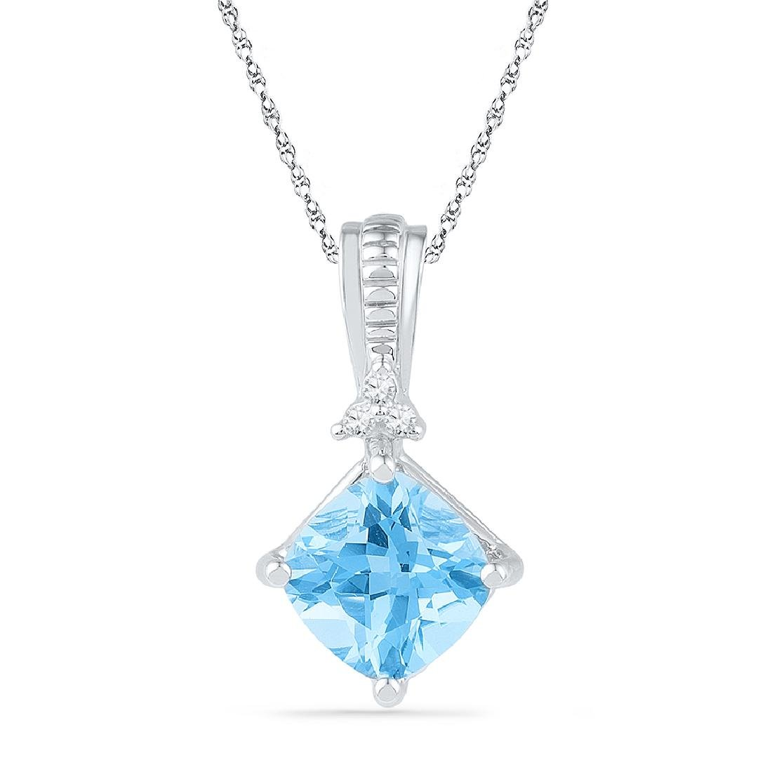 2.42 CTW Princess Created Blue Topaz Solitaire Pendant