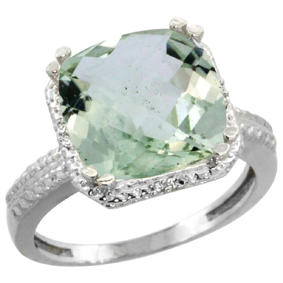 Natural 5.96 ctw Green-amethyst & Diamond Engagement