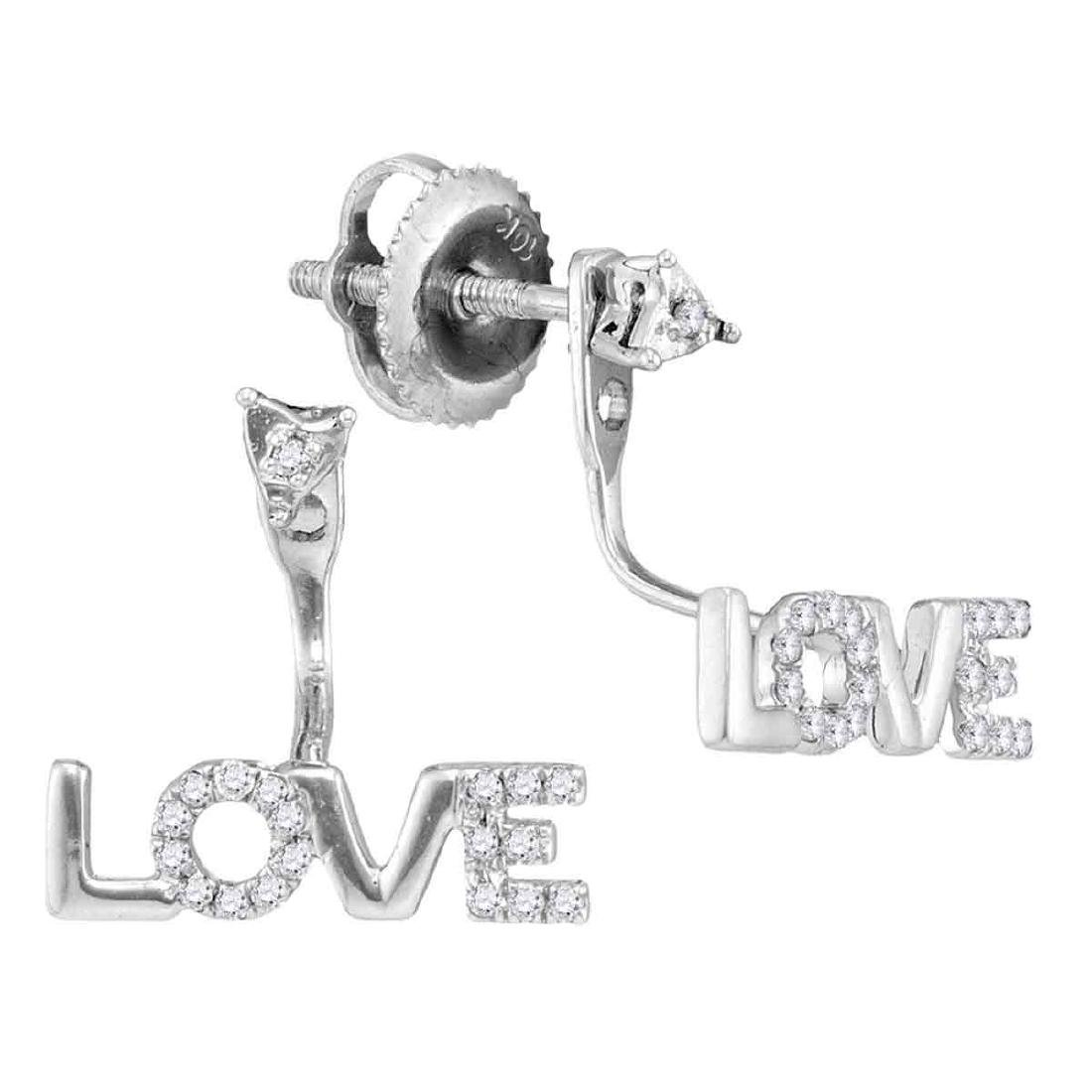 0.10 CTW Diamond Love Stud Jacket Earrings 10KT White