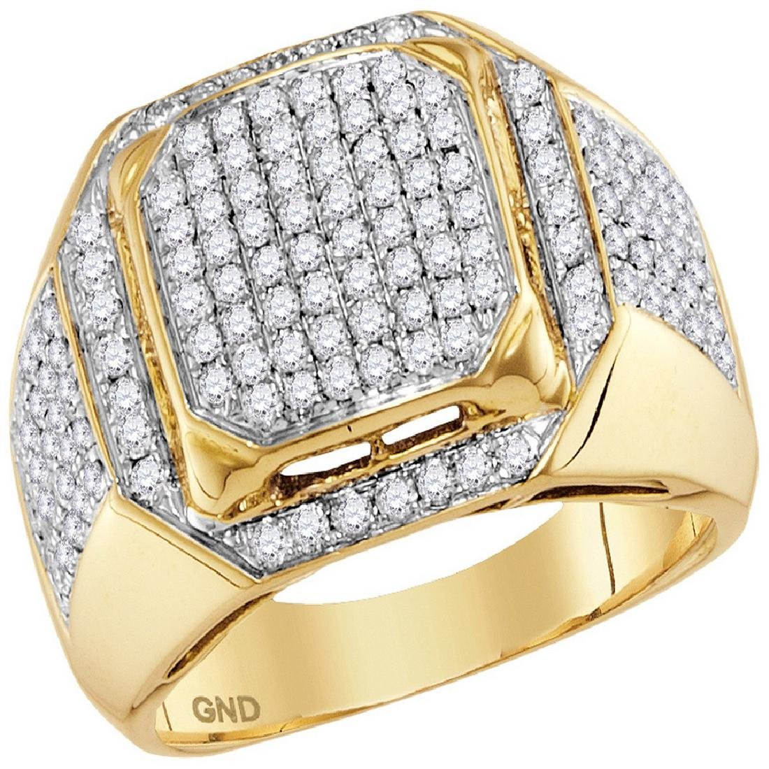 1.5 CTW Mens Diamond Square Cluster Ring 10KT Yellow
