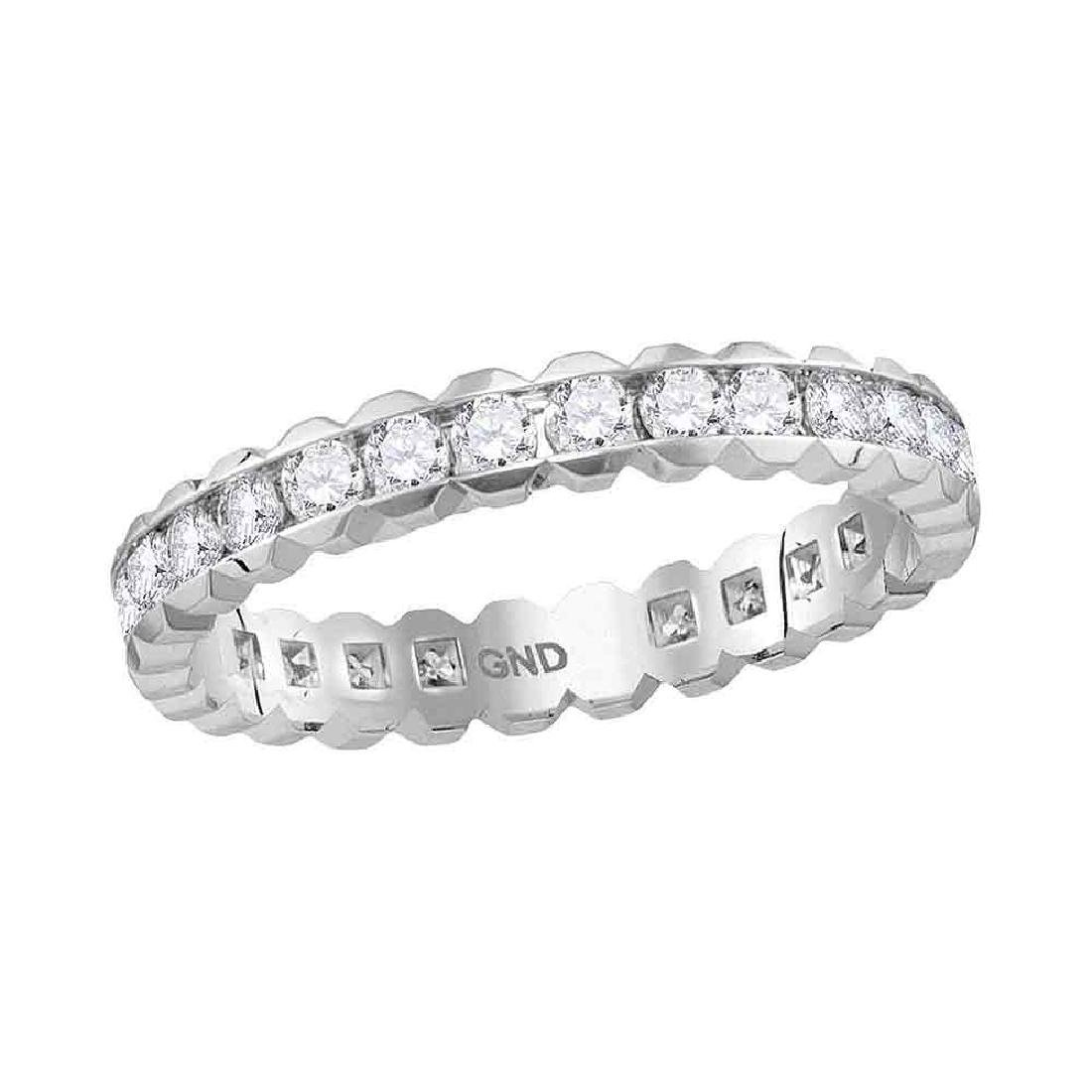 1 CTW Diamond Eternity Wedding Ring 14KT White Gold -