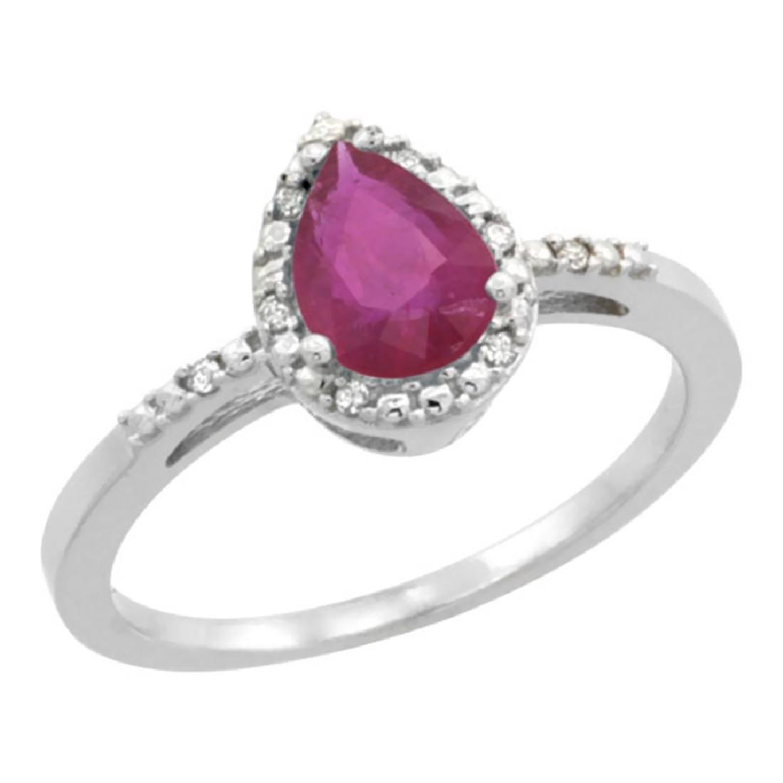 Natural 1.03 ctw ruby & Diamond Engagement Ring 14K