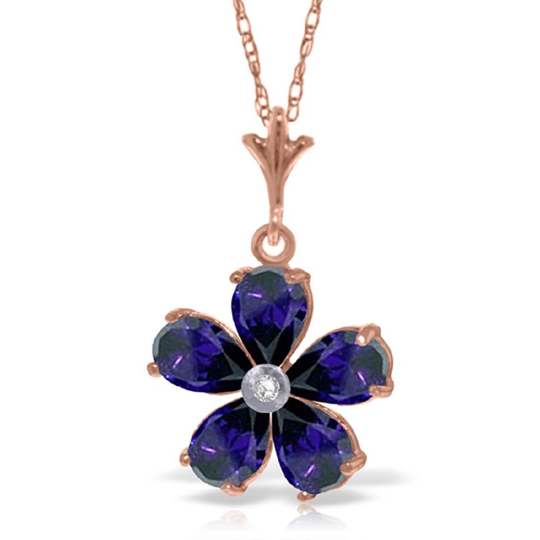 Genuine 2.22 ctw Sapphire & Diamond Necklace Jewelry