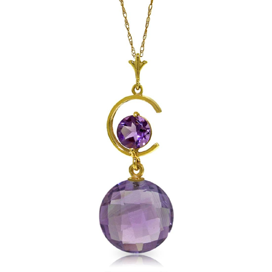 Genuine 5.8 ctw Amethyst Necklace Jewelry 14KT Yellow