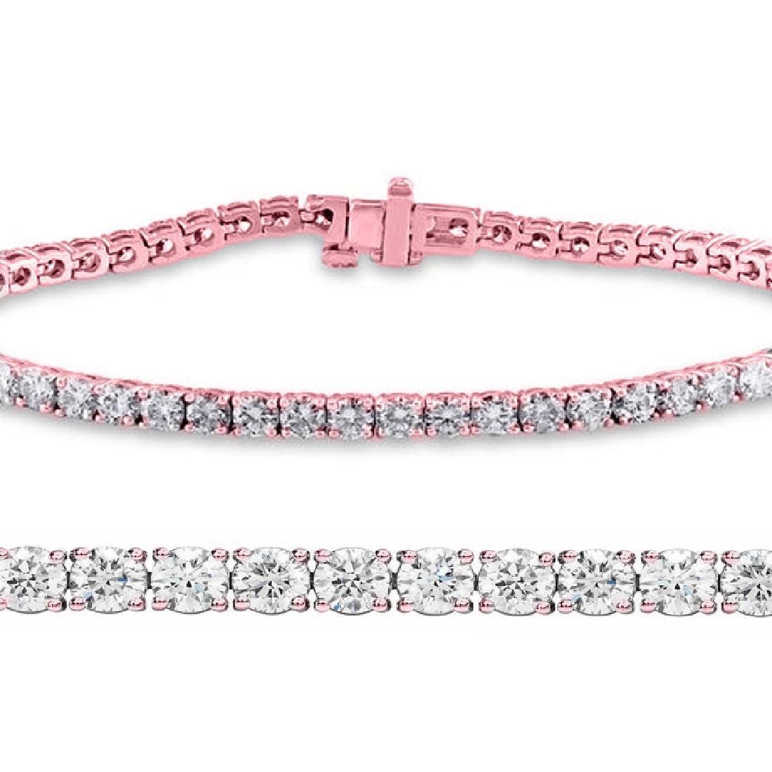 Natural 3.01ct VS-SI Diamond Tennis Bracelet 14K Rose