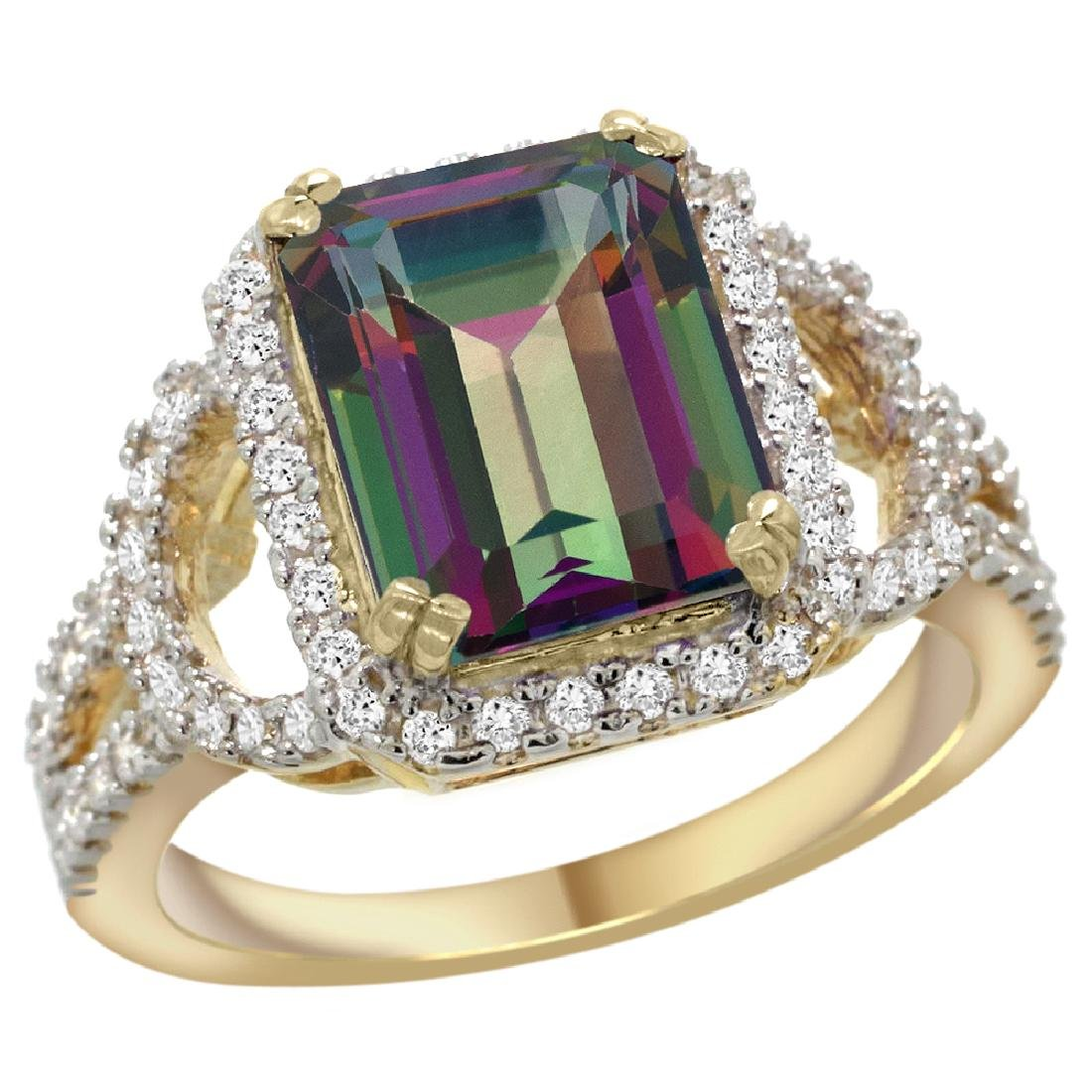 Natural 3.08 CTW mystic-topaz & Diamond Engagement Ring