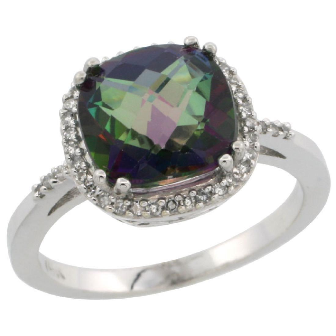 Natural 4.11 CTW Mystic-topaz & Diamond Engagement Ring