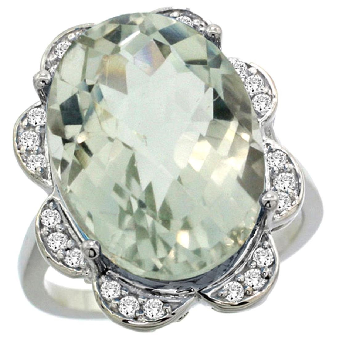 Natural 13.83 CTW green-amethyst & Diamond Engagement