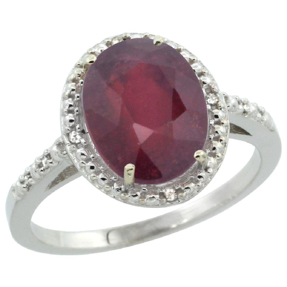 Natural 3.66 CTW Ruby & Diamond Engagement Ring 10K