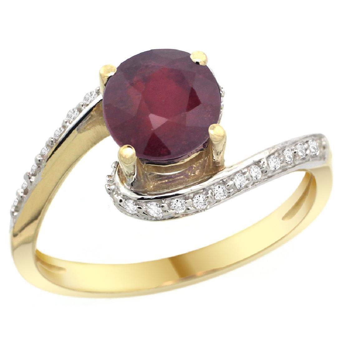 Natural 1.29 CTW ruby & Diamond Engagement Ring 14K