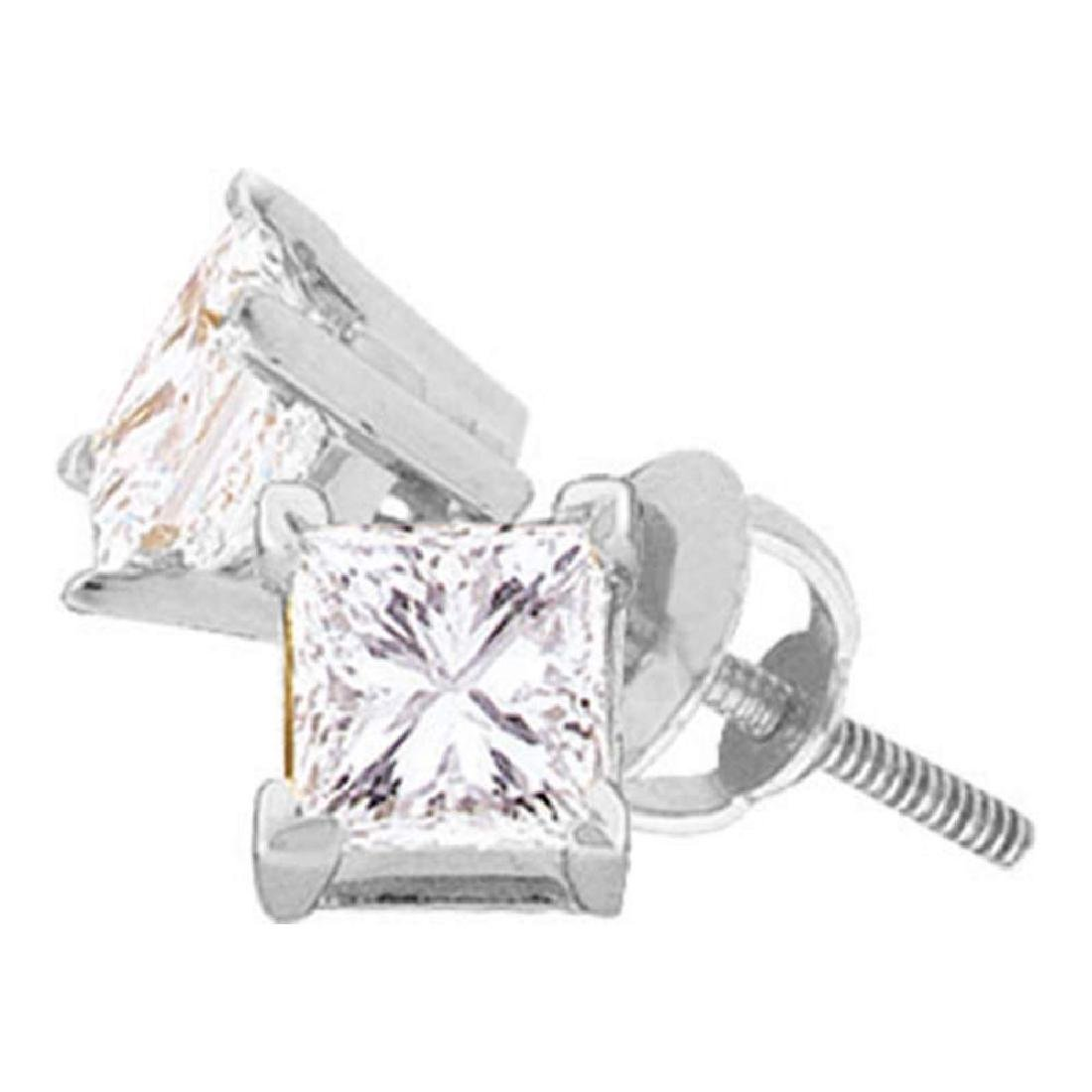 0.40 CTW Princess Diamond Solitaire Stud Earrings 14KT