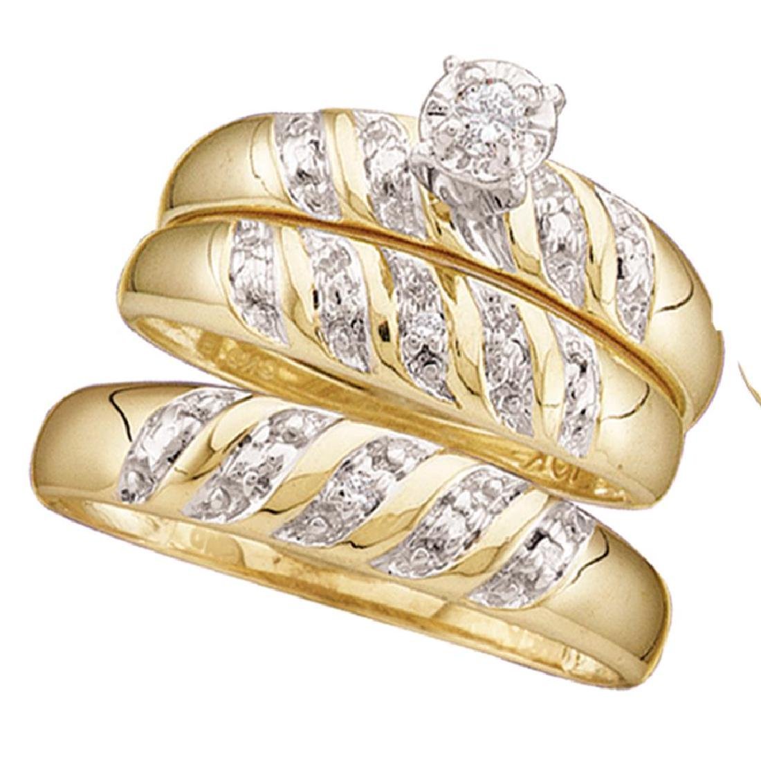 0.07 CTW His & Hers Diamond Solitaire Matching Bridal