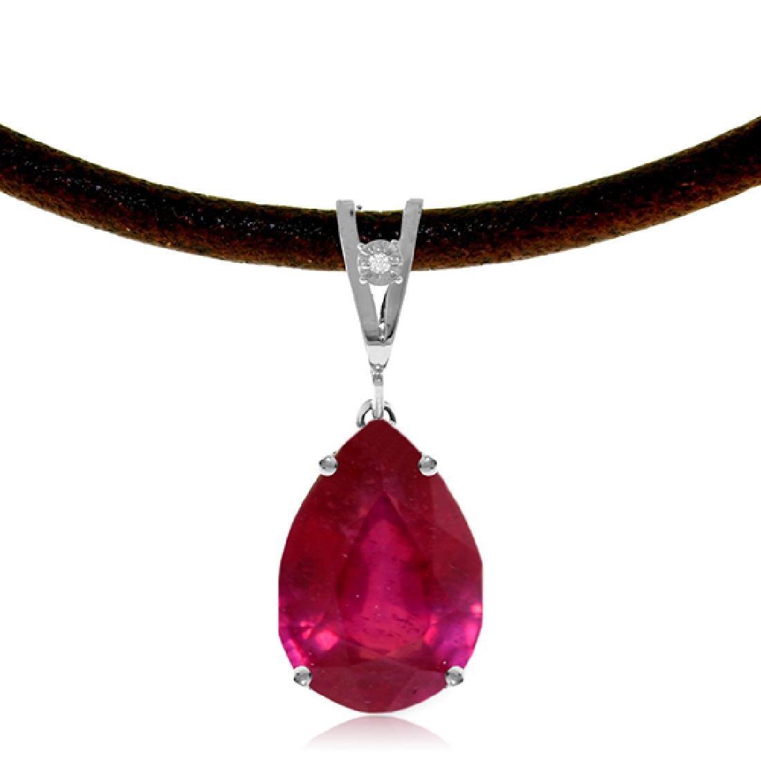 Genuine 5.01 CTW Ruby & Diamond Necklace Jewelry 14KT